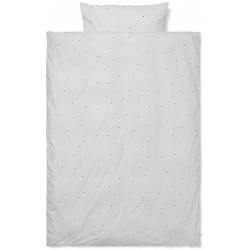 Dot Embroidery Bedding Adult Light Grey