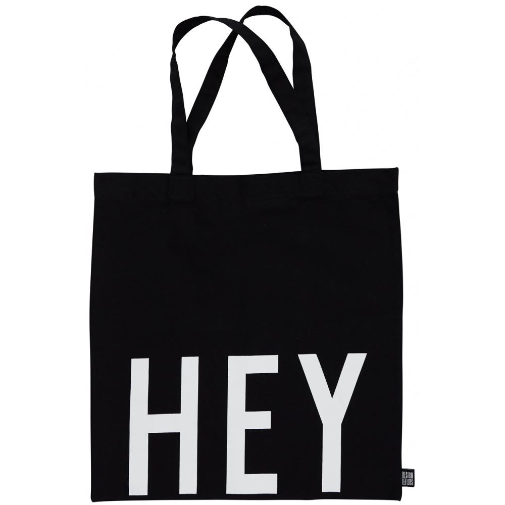 Черна памучна чанта Hey